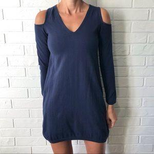 H Halston fine knit navy cold shoulder dress S